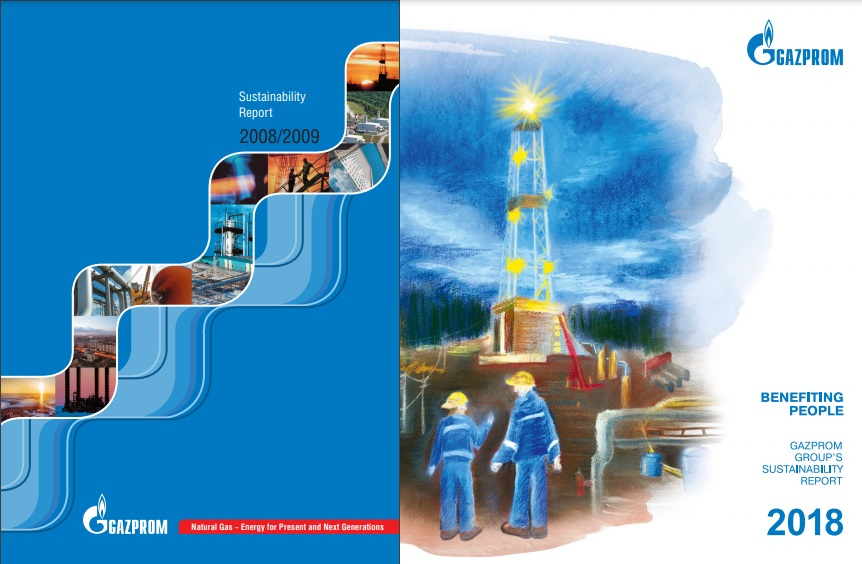 Gazpromin kestävyysraportin kansikuva