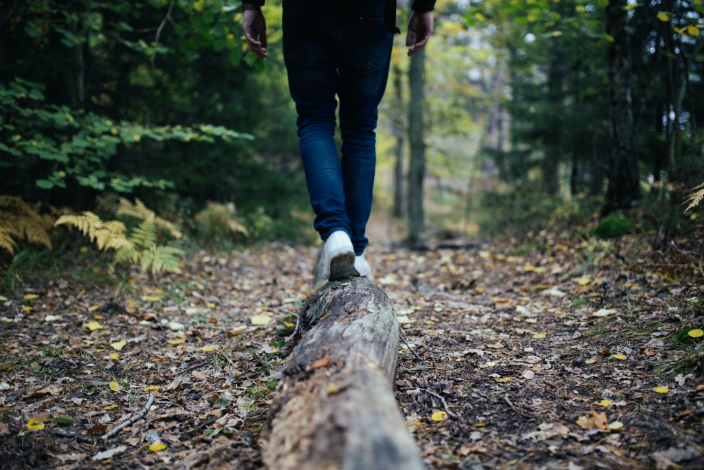 Metsässä kävelijä